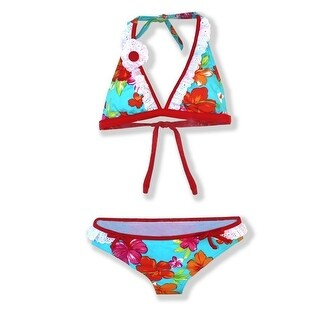 Azul Little Girls Red Turquoise Floral Totes Cute 2 Pc Bikini Swimsuit (2 options available)
