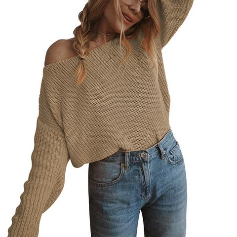 One-Necked Strapless Long-Sleeved Pullover Sweater