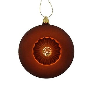 "6ct Matte Burnt Orange Retro Reflector Shatterproof Christmas Ball Ornaments 4"""