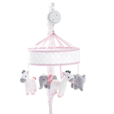 Just Born Dream Musical Mobile, Pink - pink, grey giraffe, elephant - One Size