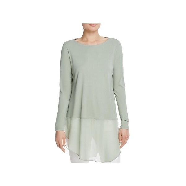 Eileen Fisher Womens Petites Tunic Top Silk Bateau Neck