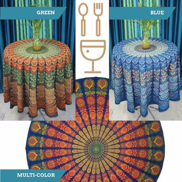 "Handmade Sanganer Peacock Mandala 72"" Round Cotton Tablecloth Gorgeous Blue Green Red"