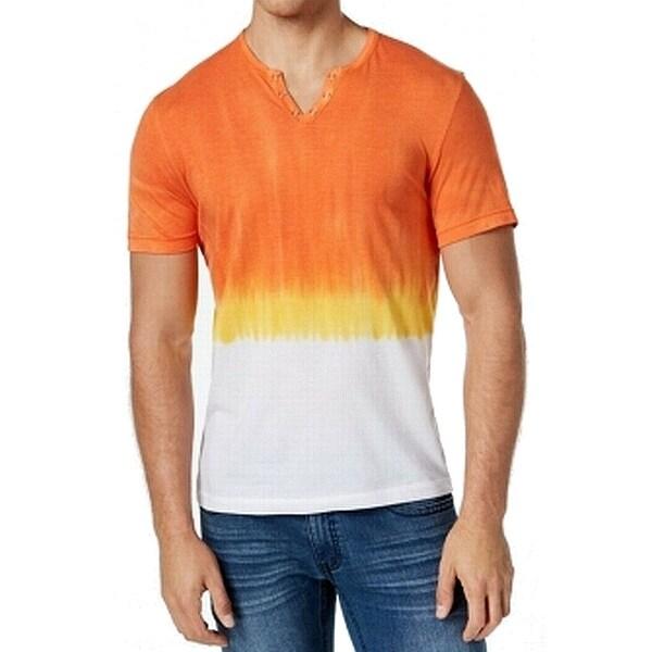 3a6d1b45 INC White Mens Dip Dye Slit V Neck Tee Shirt