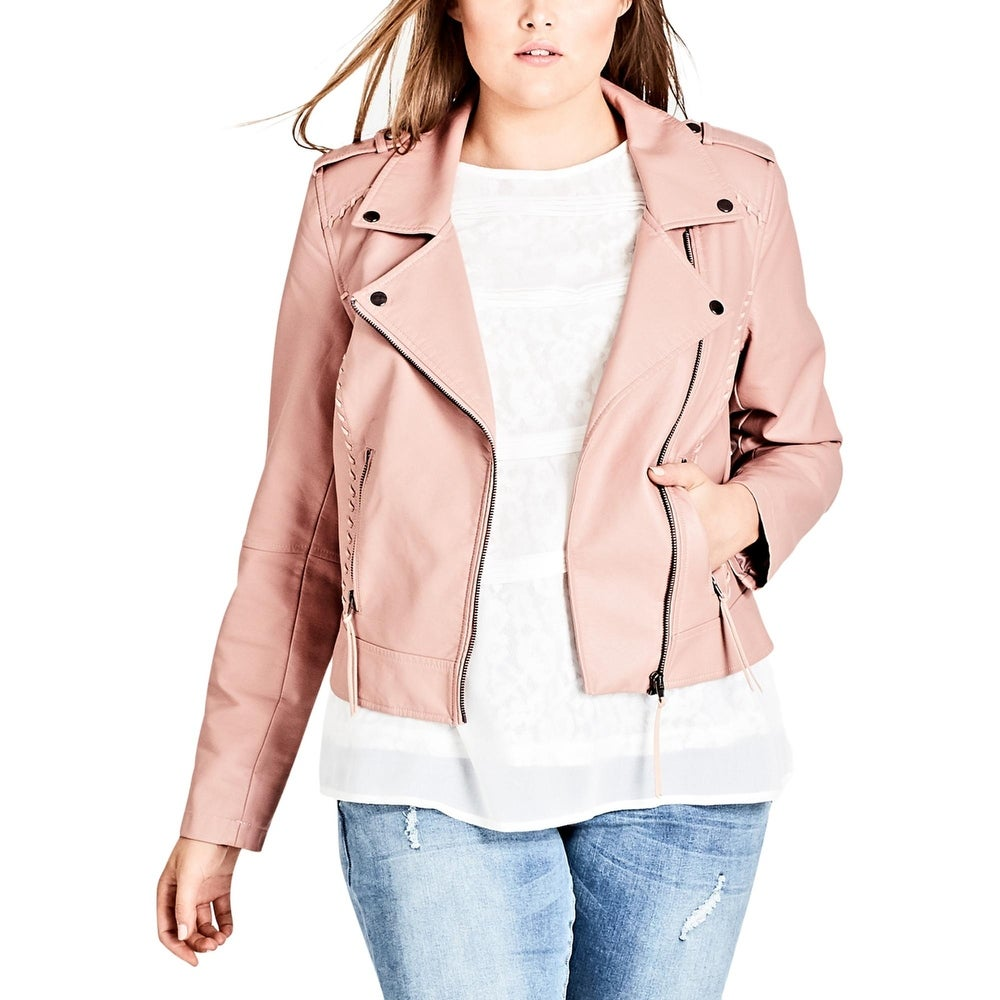 City Chic Womens Moto Coat Faux Leather Fall & Spring