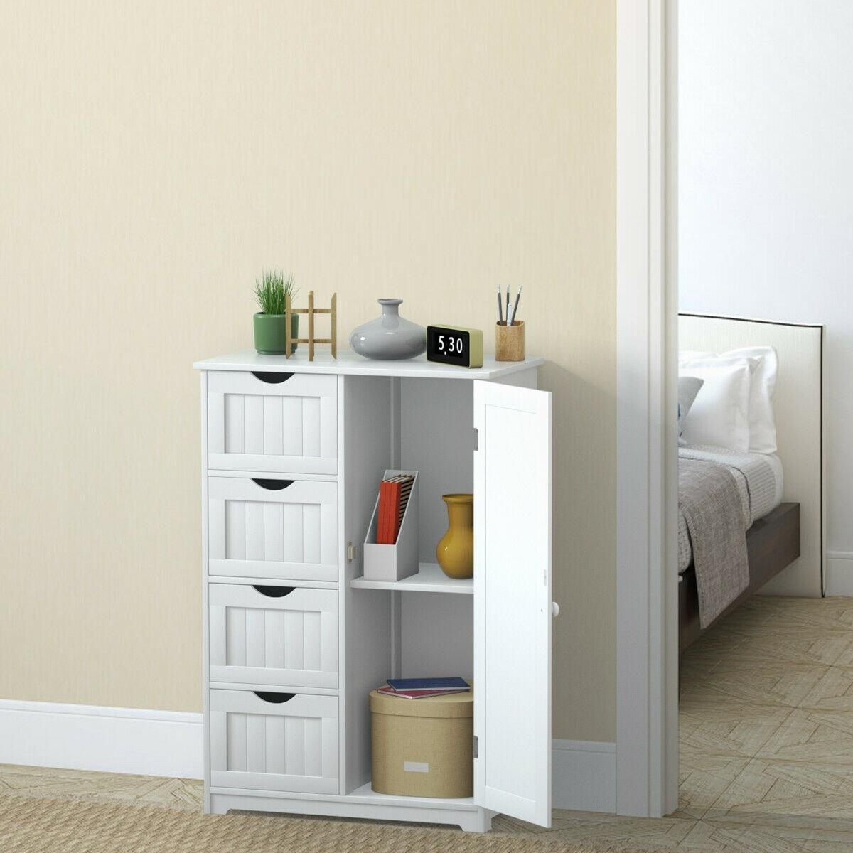 Picture of: Grey Wooden 1 Drawer 1 Door Freestanding Bathroom Cabinet Cupboard Storage Unit Cabinets Cupboards Home Furniture Diy Plastpath Com Br