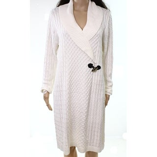 Calvin Klein White Ivory Womens Size XL Cable-Knit Sweater Dress