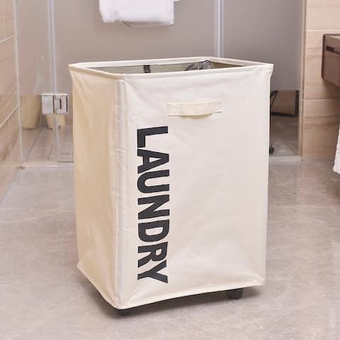 Mesh Bundle Mouth Laundry Basket Hamper with Wheel
