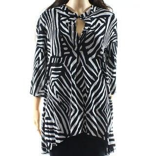 Fuzzi NEW Black Womens Size Medium M Printed Hi-Low Split-Neck Blouse