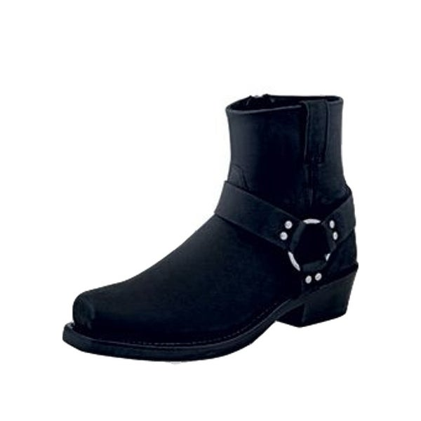 Old West Fashion Boots Mens Ankle Harness Leather Lined Black
