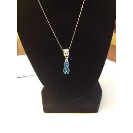 Blue Ribbon Necklace for Cancer Awareness