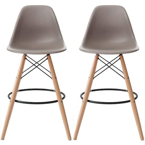 """2xhome Set of 2 Modern 28"""" Color Seat Height DSW Molded Armless Plastic Counter Bar Stool Natural Wood Eiffel Dowel Legs Kitchen"""