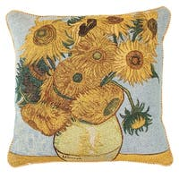 Fine Art Double-Sided Tapestry Square Throw Pillow Cover - Sunflowers