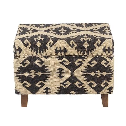 Handmade Kilim Upholstered Storage Stool (India)