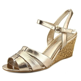 Easy Spirit Berdina Women Open Toe Leather Gold Wedge Sandal