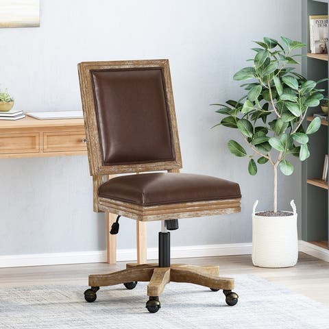 Sandine Upholstered Swivel Office Chair by Christopher Knight Home