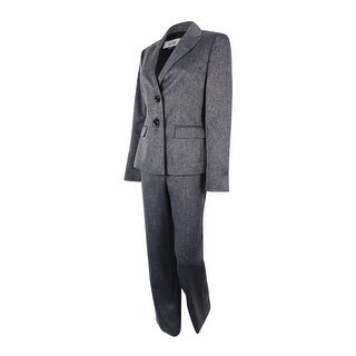 Le Suit Women's Two-Button Prague Pant Suit - Charcoal