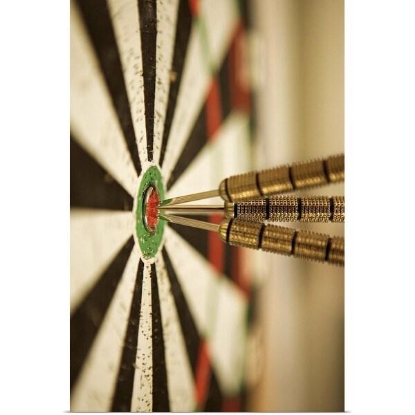 """Darts in bull's-eye of target"" Poster Print"