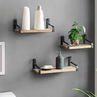 Link to ALEKO Rustic Wood Wall Storage Floating Shelves - Set of 3 Similar Items in Accent Pieces