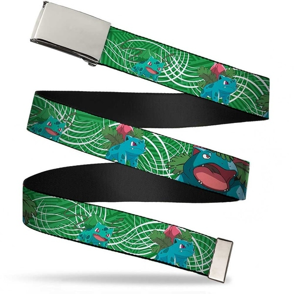 Blank Chrome Buckle Bulbasaur Evolution Green Stripe Swirl Webbing Web Web Belt