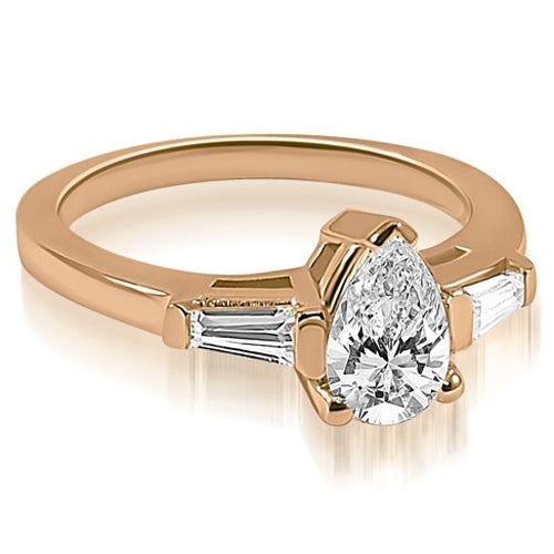 1.25 cttw. 14K Rose Gold Pear and Baguette Three Stone Diamond Engagement Ring