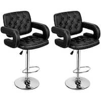 Costway Set of 2 PU Leather Swivel Bar Stools Hydraulic Pub Chair Adjustable Black