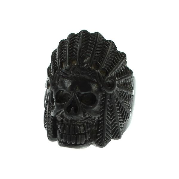 Inox Jewelry Stainless Steel Chief Indian Skull Head Matte Ring (Black) - Black