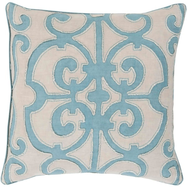 "22"" Princess Dreams Teal Blue and Cool Gray Throw Pillow - Down Filler"