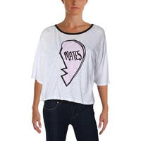 Honey Punch Womens Casual Top Graphic Burnout - m