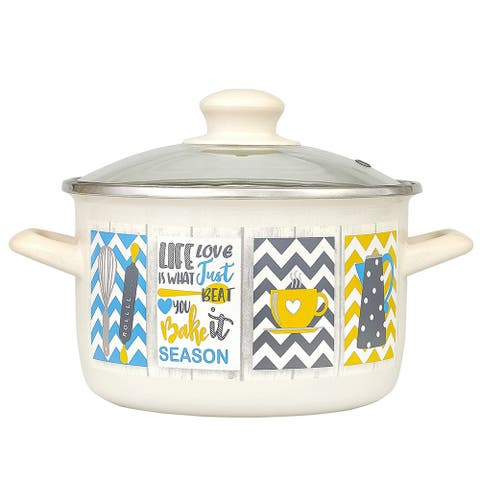 MET-ROT Country Enamel on Steel High-End Stock Pot w/Glass Lid