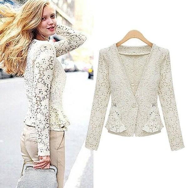 67e0c6e92a Shop Sexy Sheer Lace Blazer / Lady Outwear / Women OL Formal Slim ...