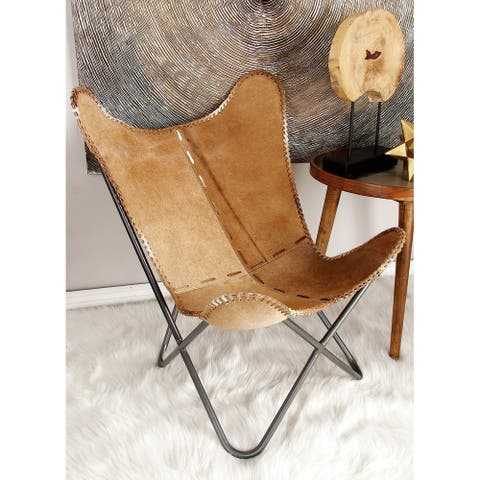30 x 36 Cowhide and Iron Scoop Chair by Studio 350