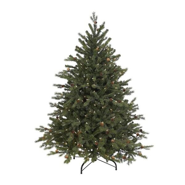 4.5' Hunter Fir Pre-Lit Artificial Christmas Tree - Clear Lights - green