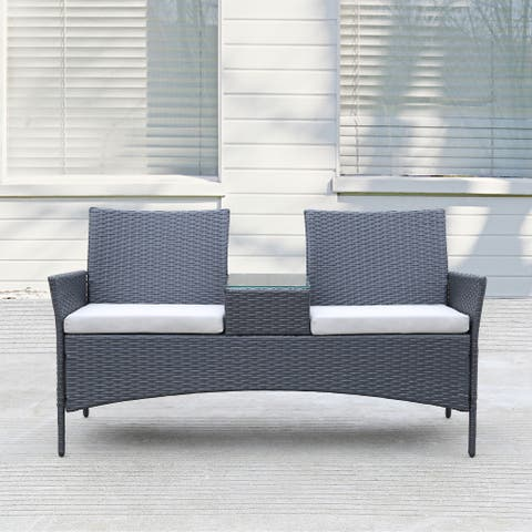 Patio Wicker Loveseat with Build-in Coffee Table - N/A