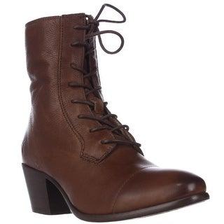 FRYE Courtney Lace-Up Combat Boots - Cognac