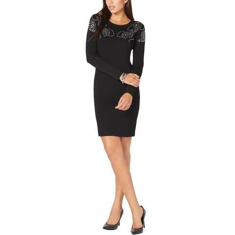 MICHAEL Michael Kors Womens Embellished Ponté-Knit-Knit Dress X-Small Black