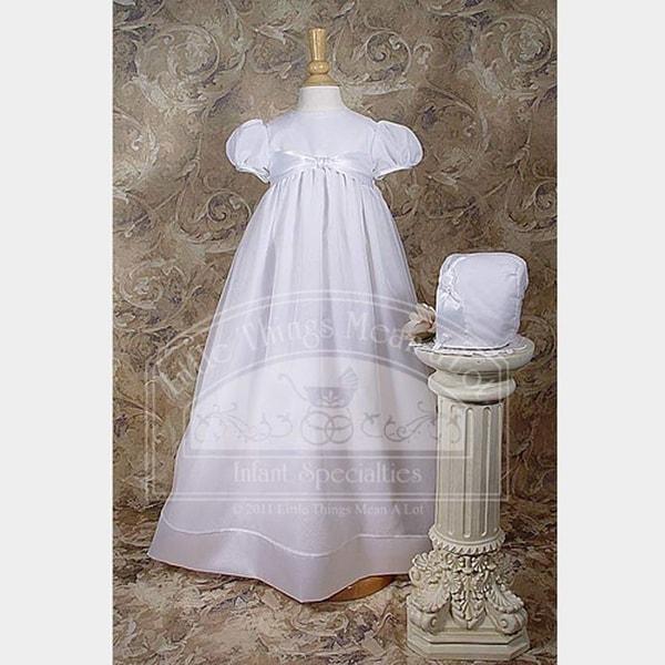 Baby Girls White Organza Ribbon Christening Baptism Dress Gown 3-12M