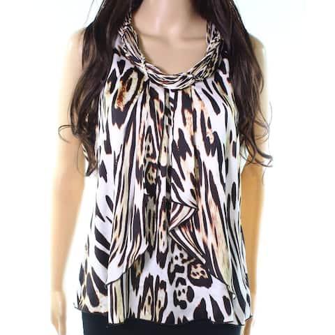 Milano Brown Womens Size Medium M Printed Pleat-Neck Ruffle Blouse