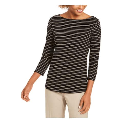 CHARTER CLUB Womens Black Pinstripe 3/4 Sleeve Boat Neck Top Size PP