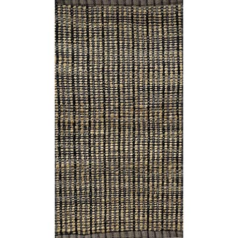 Hand-Woven Black and Gray Jute Accent Rug