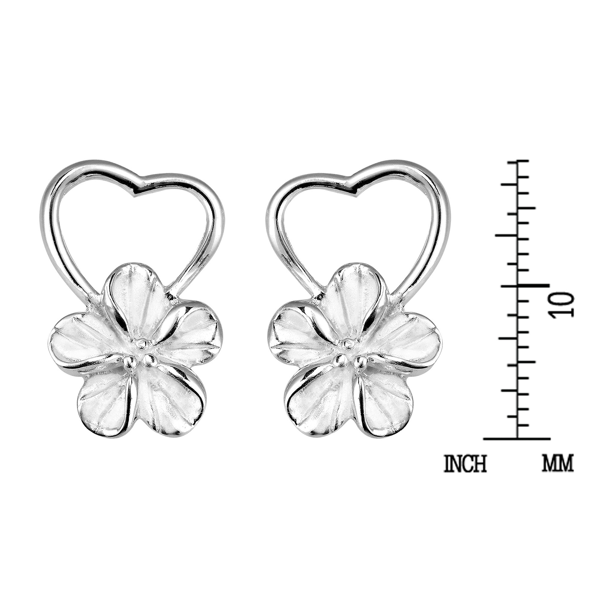 13 Color Choices Heart in Hawaii Tiny Plumeria Flower Silver-tone Hoops