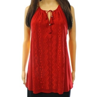 INC NEW Red Glazed Berry Womens Size XL Embroidered Split Neck Cami Top