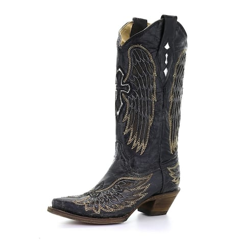 Corral Western Boots Womens Goat Leather Snip Toe Black