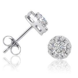 Amanda Rose AGS Certified 3/4ct TW Halo Diamond Stud Earrings in 14K White Gold