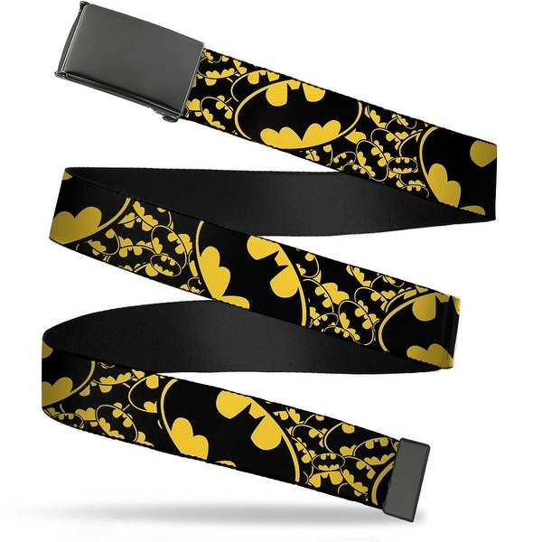 Blank Black Buckle Bat Signals Stacked W Close Up Yellow Black Web Belt