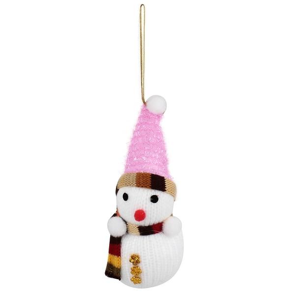 Unique Bargains Gold Tone Snowflake Detail Snowman Pendant White for Christmas Tree Ornament