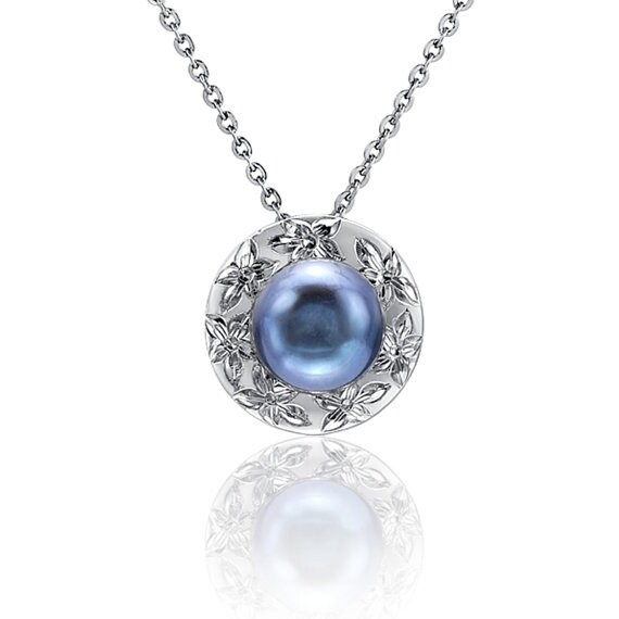 """Blue Pearl Sterling Silver Necklace 18"""" Chain"""