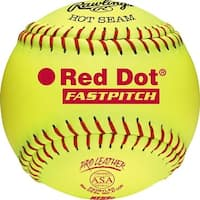 "Rawlings 12"" ASA Red Dot Pro Leather Fastpitch Softball (DZ) Optic Yellow 12"