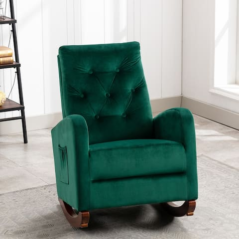 Nestfair Comfortable Rocker Fabric Padded Seat Rocking Chair
