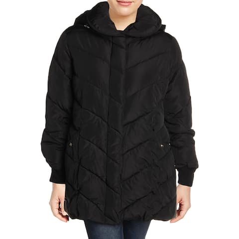 Steve Madden Womens Plus Puffer Coat Water Resistant Quilted