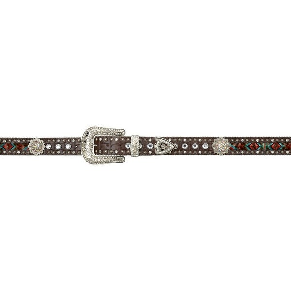 Angel Ranch Western Belt Womens Gator Print Beaded Concho Brown